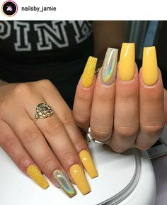 Long Square Nails Mustard Yellow Holographic