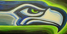 Seatle Seahawks painting sports art football by crockerart on Etsy, $50.00