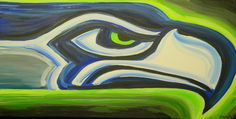 Seatle Seahawks painting sports art football by crockerart on Etsy, $50.00