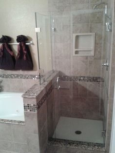 Master Bathroom Knee Wall stand up shower with knee walls. schluter shower kit. custom niche