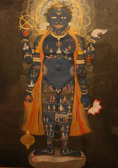 Vishnu as the Cosmic Man (Vishvarupa)  Opaque watercolour on paperJaipur, Rajasthanc. 1800-50The blue-skinned Hindu god Vishnu is shown with four arms, each holding one of his attributes: a conch shell, a lotus flower, a mace and his circular wand, called Sudarshana chakra (meaning 'beautiful disc'). The small figures all over his body refer to his role as the Universal Man who encompasses all of creation: the Vishvarupa (literally 'all forms').