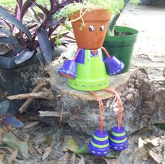 flower pot people | Terracotta Flower Pot People by PaulinesClassicGifts on Etsy
