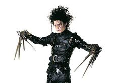 Johnny Depp in Edward Scissorhands Eduardo Scissorhands, Johnny Depp Edward Scissorhands, Edward Scissorhands Tattoo, Scissors Hand, Tim Burton Beetlejuice, Colleen Atwood, Johnny Depp Movies, 90s Movies, Robert Smith