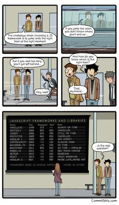 How to choose the right JavaScript framework | CommitStrip - Blog relating the daily life of web agencies developers