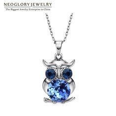 Neoglory màu xanh pha lê áo owl maxi boho dài chokers dây chuyền & mặt dây cho phụ nữ mẹ girl quà tặng đồ trang sức thời trang 2017