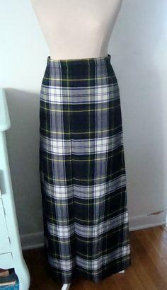 Long Scottish Tartan Skirt by Woodhams Skirts. Made in Banff Scotland. 100% Wool. Womens Size 8. Holiday Clothing Holiday Wear Christmas
