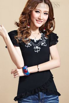 Fashion Flower-shaped Sleeves Design Round-Neck T-shirts For Women 2