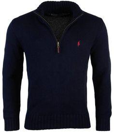 Ralph Lauren Sport Mock Neck Black Cotton Cardigan Sweater //Purple Pony NWT