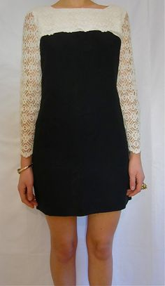 Vintage 60' Black and White Lace Cocktail by PrudenceandAustere, $42.00