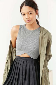 Silence + Noise Ribbed Cross-Front Cropped Tank Top - Urban Outfitters