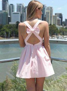 Light Pink Sleeveless Mini Dress with Open Cross Bow Back