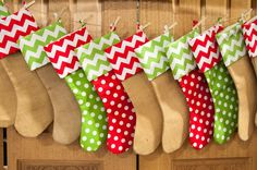 Burlap and Chevron Christmas Stockings Chevron by MyCustomThreadz, $16.00