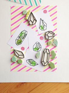 Succulent terrarium rubber stamp set. geometric terrarium hand carved rubber…