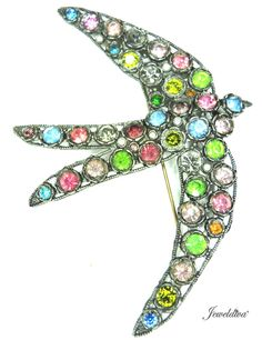 Vintage Deco Multi-Color Rhinestone Bird Pin