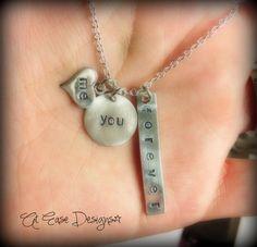 me you forever. couples necklace. boyfriend girlfriend husband wife fiance. usmc navy army usaf. $43.00, via Etsy.