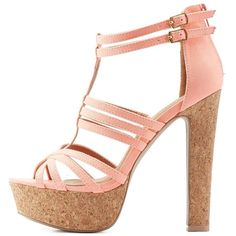 Charlotte Russe Caged Cork Platform Sandals found on Polyvore featuring shoes, sandals, heels, high heels, salto, neon coral, two buckle sandals, thick heel shoes, strap heel sandals and criss-cross sandals