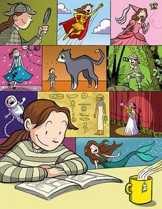 illustrations, book reader, art, read books, librari, raina telgemei, bookworm anonym, posters, book lover