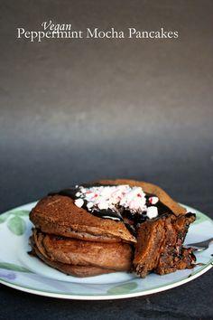 Vegan peppermint mocha pancakes.