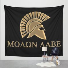 Molon lave-Spartan Warrior Wall Tapestry by augustinet Warrior Outfit, Spartan Warrior, Wall Tapestry, Shops, Clock, Community, Blanket, Pillows, Canvas