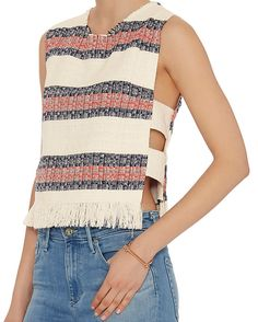 Sea Fringed Striped Jacquard Tank: Fringe trim at the round neckline and hem. Zipper closure at back. Open bands at sides. Lined. In ivory with red/navy stripes. Fabric: 55% polyester/37% linen/8% cotton Lining: 100% polyester Made in USA.   Model Measurements: Height 5'10 1/2; Waist 24 ; ...