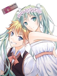 Hatsune Miku y Kagamine Len by heartswithglitter