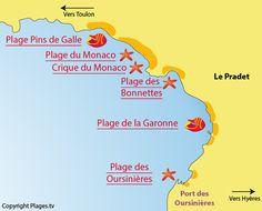 Plan des plages du Pradet dans le Var