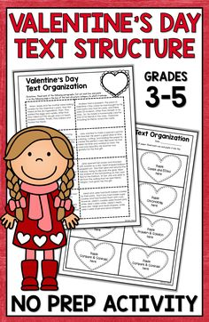 Valentine's Day reading activities for 3rd grade, 4th grade, and 5th grade are fun for students with this text structure lesson. Kids and upper elementary classroom teachers love this text structure activity for a fun Valentine's Day lesson! Great Valentine's Day text structure idea!