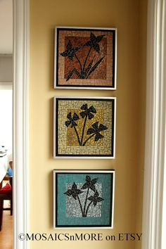 Group of 3 Mosaic Fine Art Wall Hangings HANDMADE by MOSAICSnMORE