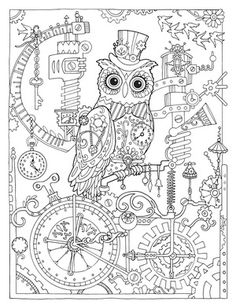 Creative Haven Owls Colouring Book By Marjorie Sarnat Steampunk Owl