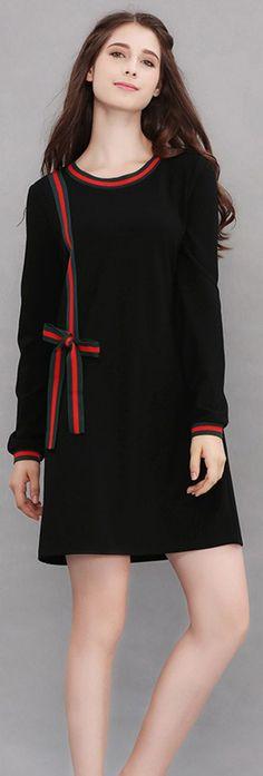 Black Ribbed Trim Bow Dress