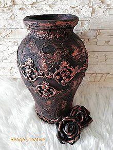 Dekorácie - Váza Roza - 10727068_ Bronze, Jar, Glass, Bottles, Home Decor, Decorated Bottles, Decoration Home, Drinkware, Room Decor