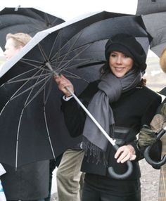 Crown Princess Mary of Denmark:  staying dry in Iceland.