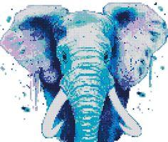 Cross Stitch Pattern Elephant Watercolor Animal Rainbow Wild
