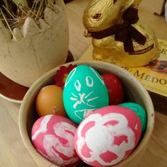 Easter eggs, first drawn with candle wax and then coloured with special easter egg colours.
