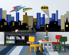 City Skyline Decal Superman City Skyline wall by StunningWalls