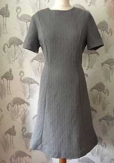 Vintage 1960s Mini Dress, grey textured dress, round neckline, short sleeves, retro Mod scooter dress, A Line, Twiggy style by TheVintageFlea29 on Etsy
