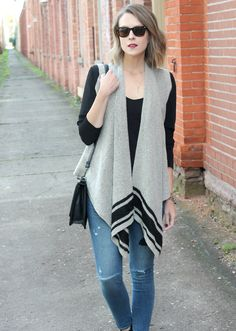 Spotted | Banana Republic's Drapey Open Sweater Vest styled by Penny Pincher Fashion