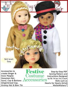 Sew Festive Costume accessories with this pattern for 14 to 14.5 inch dolls. Pattern by Doll Tag Clothing.