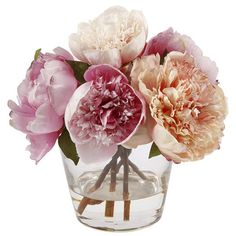 Peonies with Glass Vase