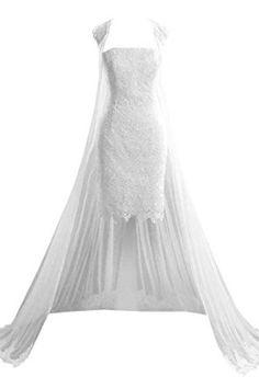 Sexy Sheath Lace Short Wedding Dresses with Long Cloak