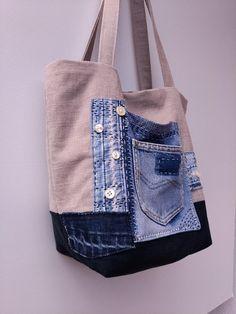 Small/medium tote bag Jeans recycle bag Shoulder bag