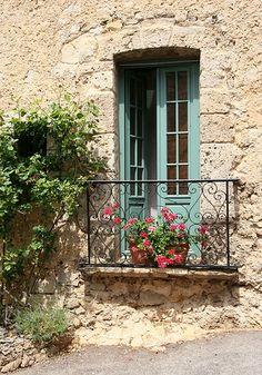 Tourtour balcony window and balcony in Place de la Trinite, Tourtour, Var, France Juliette Balcony, Balcony Window, Balcony Plants, Balcony Gardening, Iron Balcony, Old Doors, Windows And Doors, French Balcony, Provence France