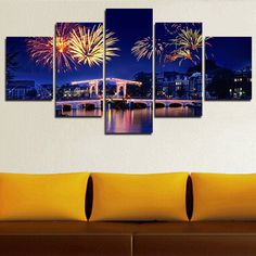 Fallout 5 Piece(no Frame) Night View Fireworks City Canvas Oil Painting by Numbers Modern Art Hd Print Cuadros Wall Picture Home