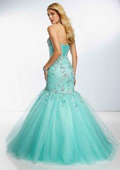 Aqua Blue Strapless Lace Mermaid Wedding Dress with Corset Tie Back
