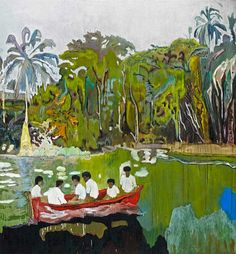 """igormaglica: """" Peter Doig (b. 1959), Red Boat (Imaginary Boys), 2004. oil on canvas, 200 x 186 cm """""""
