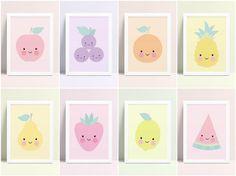 Nursery Wall Art, Girl Nursery, Nursery Decor, Room Decor, Nursery Prints, Lemon Art, Pineapple Art, Orange Art, Cute Fruit