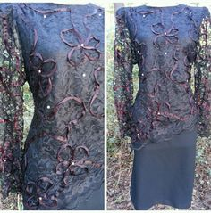 Beaded Dress Size Large Lace Black Party Vintage 80s Cocktail Formal #AfterDark
