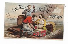 Old Trade Card Libby McNeill Libby Cooked Corned Beef SHIPWRECK Survivors