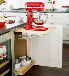 Organize This: Baking Supplies!	so cool- mixer shelf the folds into the cabinet