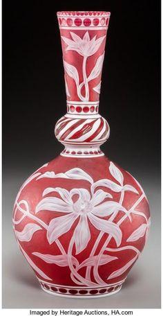 A Stevens & Williams Red Cameo Glass Vase carved by Steven Williams, Sandblasted Glass, Antique Art, Antique Glass, American Indian Art, Window Art, Art Object, Porcelain Ceramics, Leaf Design